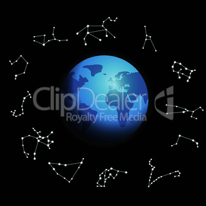 constellations around the globe vector illustration