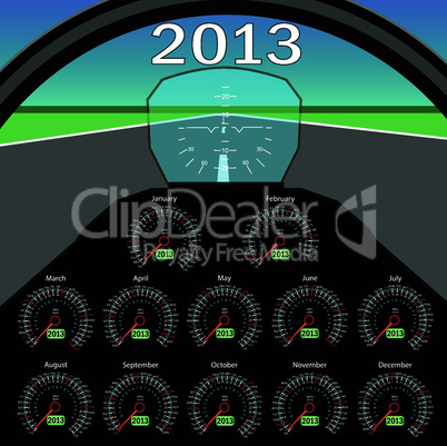 Stylish calendar  in the form of instruments in the cockpit for 2013.