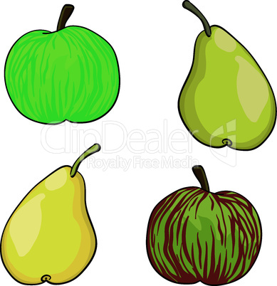 apple and pear fruit set of vector