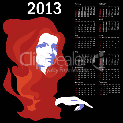 Stylish calendar with woman  for 2013. Week starts on Sunday.