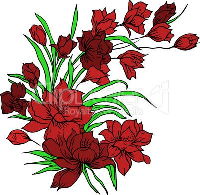 Flower bouquet, painted by hand. Vector illustration.