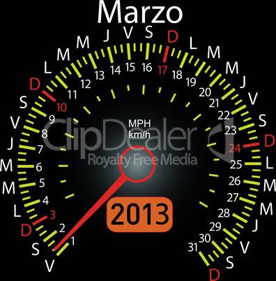 2013 year calendar speedometer car in Spanish. March