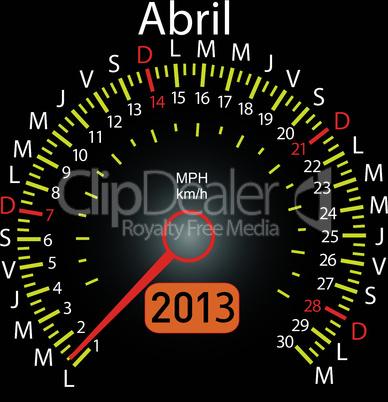 2013 year calendar speedometer car in Spanish. April