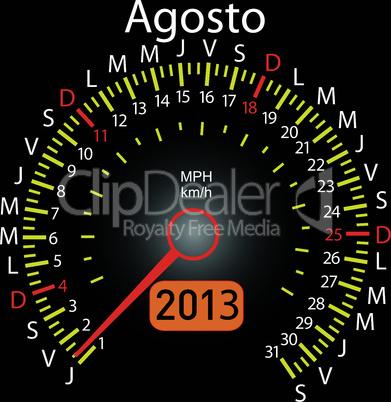 2013 year calendar speedometer car in Spanish. August