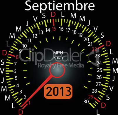 2013 year calendar speedometer car in Spanish. September