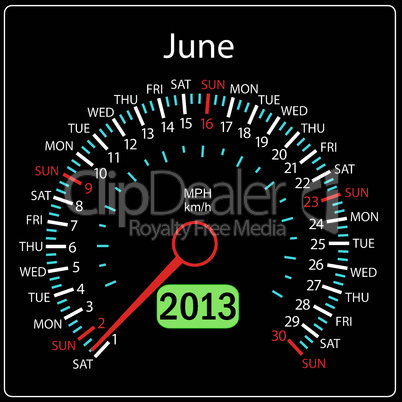 2013 year calendar speedometer car in vector. June.