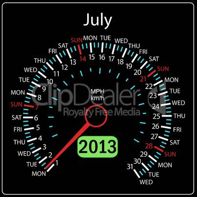 2013 year calendar speedometer car in vector. July.