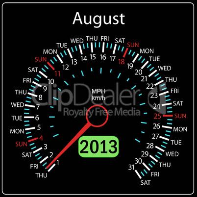 2013 year calendar speedometer car in vector. August.