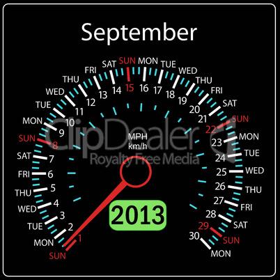 2013 year calendar speedometer car in vector. September.