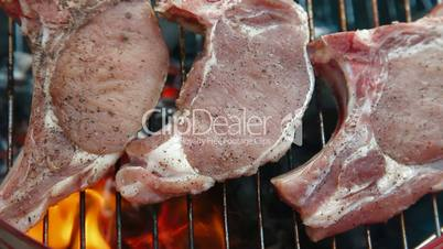 Flame Grilled Steak On Barbecue