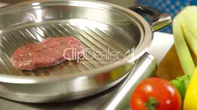 Raw Steak Grilled On Grill Pan