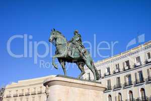 Statue of King Charles III in Madrid