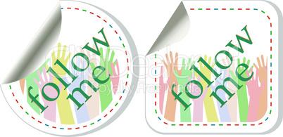 follow me vector stickers label set