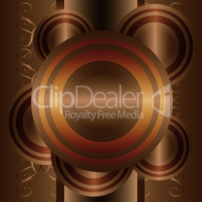 Abstract vector background with gold circles. retro pattern