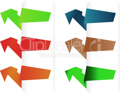 Vector set of origami paper banners. label design