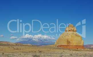 Church Rock with Manti La Sal mountains, Utah