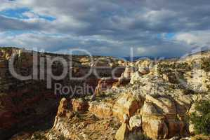 Canyon, rocks and clouds, Grand Stair Escalante National Monument, Utah