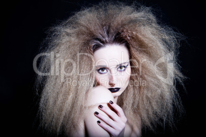 beautiful woman with glamour hairstyle and make up
