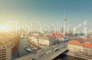 Berlin Skyline City Panorama with Sun - famous landmark in Berlin, Germany, Europe