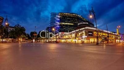 Berlin Kudamm (Kurfürstendamm) Timelapse from Day to Night in 1080p HD, famous landmark in Berlin, Germany