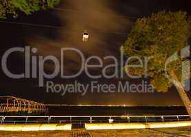 Cable car at night