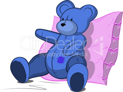 Blue Teddy bear on pink pillow vector illustration