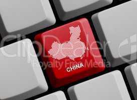 China - Umriss auf Tastatur