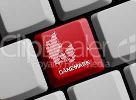 Dänemark - Umriss auf Tastatur