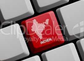 Indien - Umriss auf Tastatur