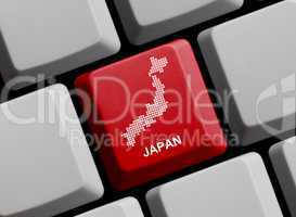 Japan - Umriss auf Tastatur