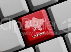 Ukraine - Umriss auf Tastatur