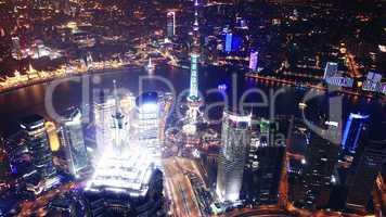 Bird s eye view of Shanghai Pudong at night