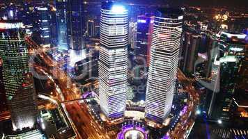 Bird s eye view of Shanghai at night