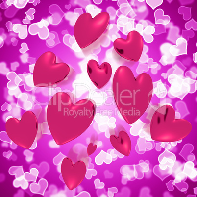 Hearts Falling With Mauve Bokeh Background Showing Love And Roma