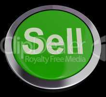 Sell Button In Green Showing Sales And Business