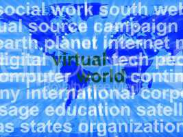 Virtual World Words On Map Showing Global Internet Or Worldwide