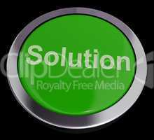 Solution Computer Button In Green Showing Success And Strategy