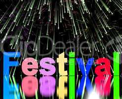 Festival Word With Fireworks Showing Entertainment Event Or Part