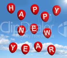 Balloons In The Sky Spelling Happy New Year