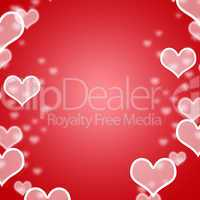 Red Hearts Bokeh Background With Blank Copyspace Showing Loving