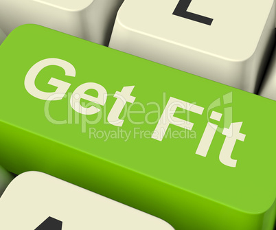 Get Fit Computer Key Showing Exercise And Working Out For Fitnes