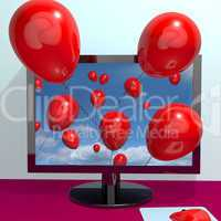 Red Balloons In The Sky And Coming Out Of Screen For Online Gree