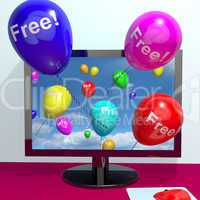 Balloons With Free Coming Through Computer  Showing Freebies and