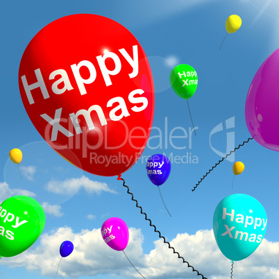 Balloons Floating In The Sky With Happy Xmas