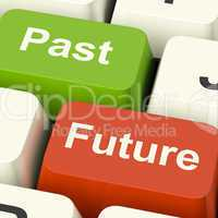 Past And Future Keys Showing Evolution Aging Or Progress