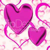 Mauve Hearts On A Heart Background Showing Love Romance And Roma