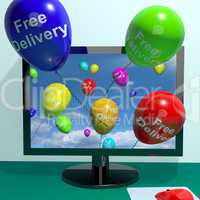 Free Delivery Balloons From Computer Showing No Charge Or Gratis