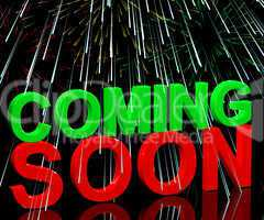 Coming Soon Words With Fireworks Showing New Product Arrival Ann