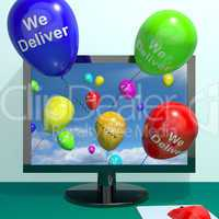 We Deliver Balloons From Computer Showing Delivery Shipping Serv