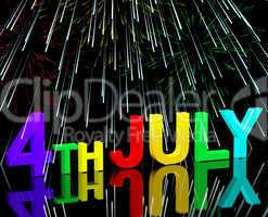 Fourth July Word And Fireworks As Symbol For America And Patriot